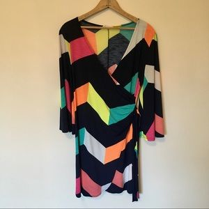 3 / $30 LA brand Multi color Mod Faux Wrap Dress